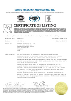 Ball Valves Certificate
